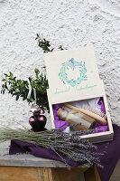 Selbst gemachtes Lavendel-Seifenshampoo zum Verschenken