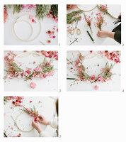 Tying a spring wreath