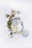Christmas decorations in silver