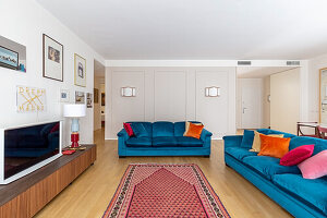 Blue upholstered sofas and TV cabinet in the living room