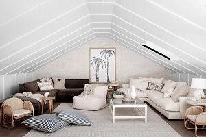 Braune und naturweiße Polstermöbel, Sitzsack und Kissen im Dachzimmer