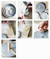 Instructions for a homemade etagere made of zinc plates and a wooden stick