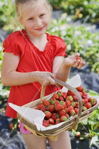 Mädchen mit Korb voll Erdbeeren im Garten
