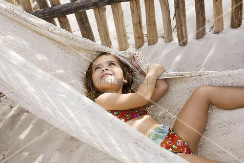 A girl on a hammock