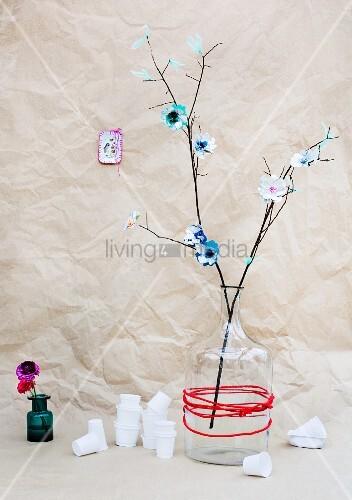 Flowers made from yoghurt pot lids