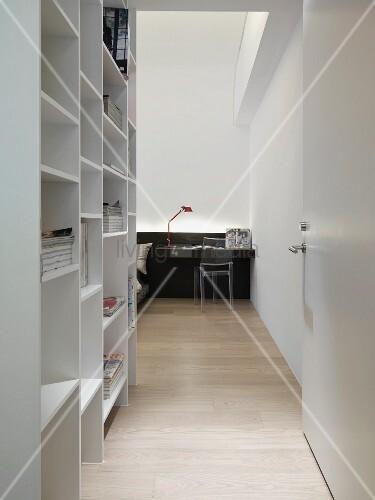 Bookshelf at entrance to bedroom