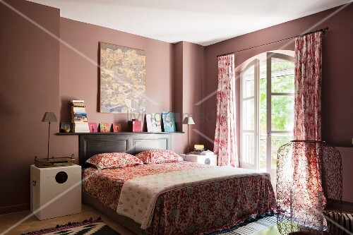 Bedroom With Red Toile Curtains By Oka And Bold Patterened Rugs By  Designers Guild