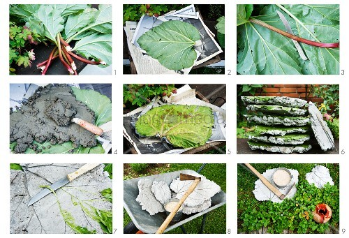 Making rhubarb leaf-shaped concrete stepping stones