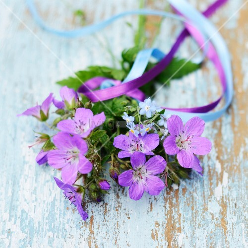 Purple flowers (cranesbill and forget-me-not) tied with ribbons on vintage wooden board