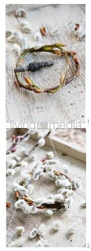 Kränzchen aus Weidenkätzchen binden