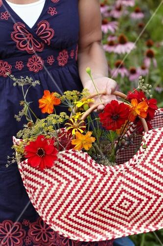 Frau sammelt Sommerblumen in einer Tasche