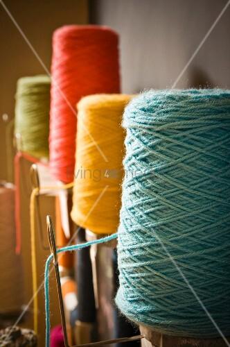 Bobbins of colourful yarn