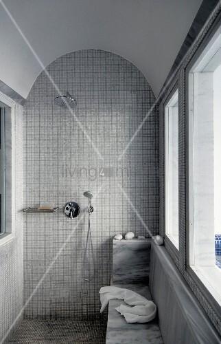 Duschbereich mit Mosaikfliesen an Wand und Boden unter Tonnendecke
