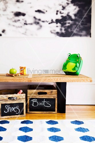 Reducing hallway clutter, wooden boxes with little blackboards - created with chalkboard paint - with writing on them