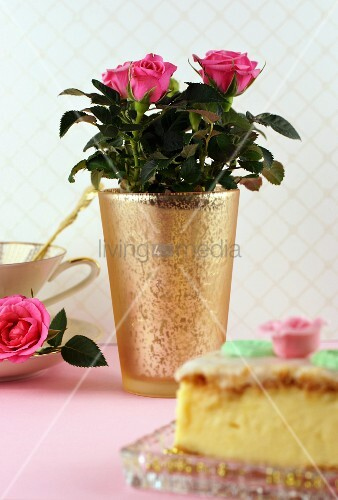 Pink potted rose on table set for afternoon tea