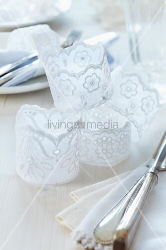 Napkin rings hand-crafted from various lace ribbons