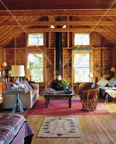 Living room of sumer cabin in Maine