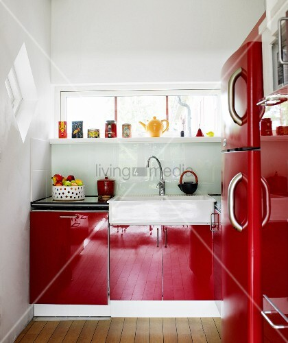 A red kitchen.