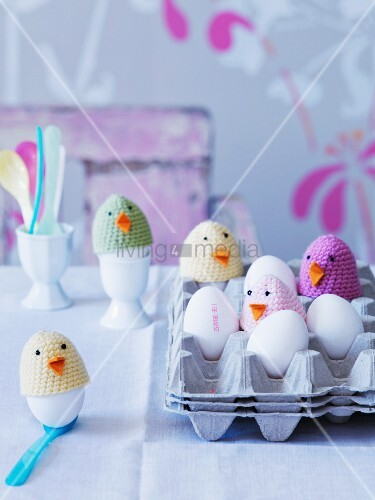 Crocheted chick egg warmers for Easter breakfast