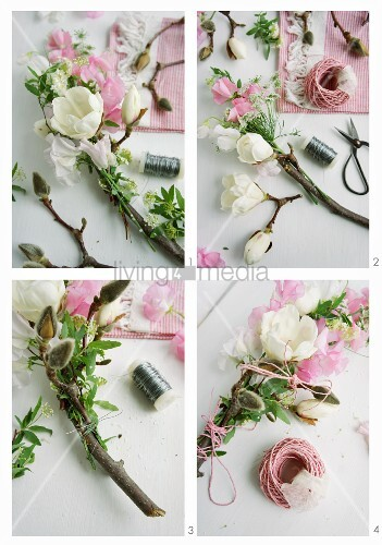 Hand-tying a garland of sweet peas, chervil, spirea and magnolia