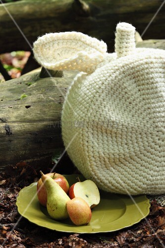 White, crocheted, apple-shaped cushion next to plate of apples and pears on woodland floor