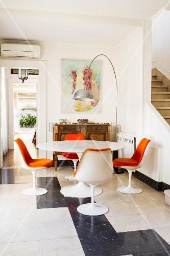 Tulip Dining Set With Orange Chair