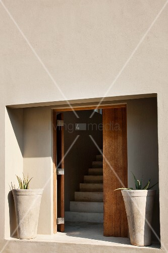 Minimalist entrance area - niche with open wooden front door flanked by concrete planters and view of staircase