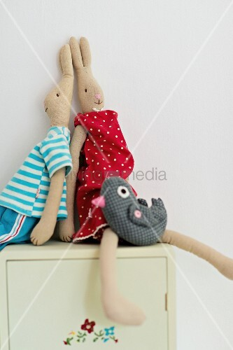 Rabbit soft toys dressed in clothes on cabinet