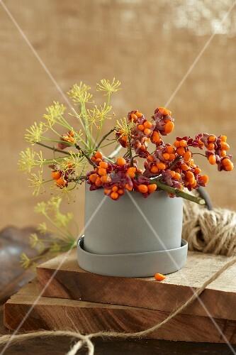Decorative twigs in vessel