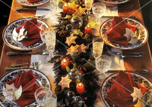 Decorated Christmas Table Setting;