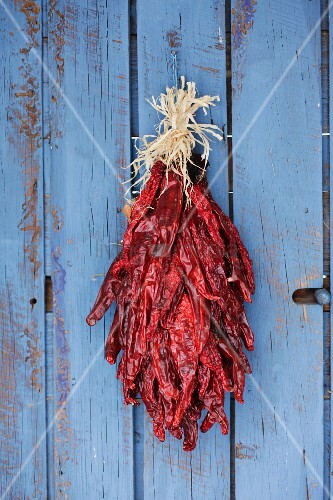 Detail of chili ristra hanging on closed door; Santa Fe; New Mexico; USA