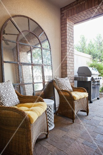 Seating area with barbecue on patio; San Marcos; California; USA