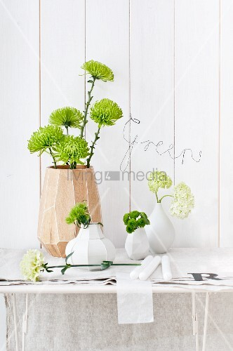 Various Vases Of Chrysanthemums Sweet William Carnations And
