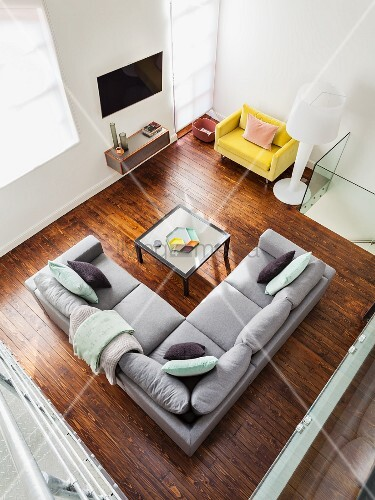 Miraculous View Down Onto Grey Corner Sofa And Coffee Table On Dark Dailytribune Chair Design For Home Dailytribuneorg