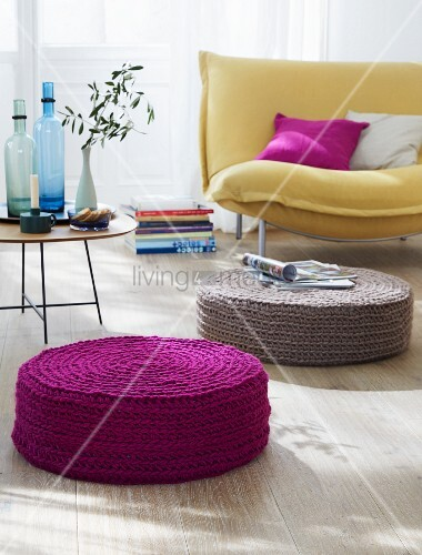 Crocheted floor cushions in purple and beige