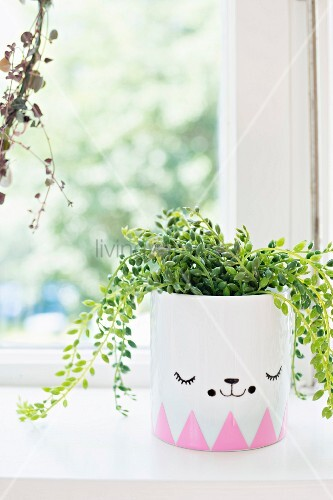 Foliage plant in planter painted with stylised face and border of pink triangles