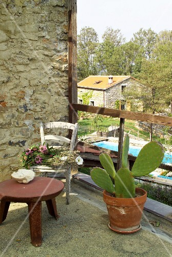 Stool and cactus on balcony with wooden balustrade with view of pool in Mediterranean garden