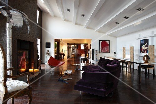 Open Plan, Eclectic Interior Of Loft Apartment With Modern Sofa, Rococo  Armchair And Open Fireplace