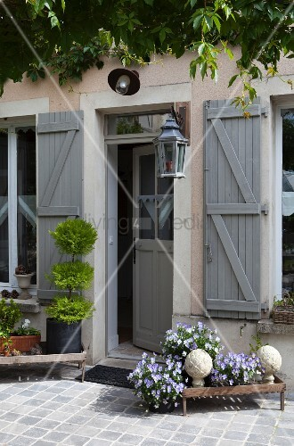 Flowering violas on vintage plant stand outside restored country house with grey-painted shutters