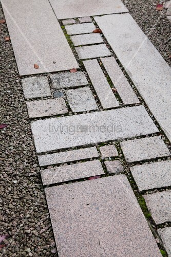 Garden path of stone flags of different sizes