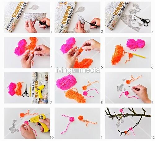 Gehäkelte Blüten aus neonfarbiger Wolle und Blätter aus Zeitungspapier herstellen