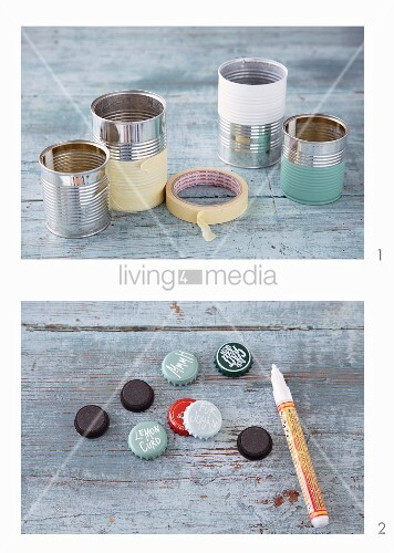Gift wrap made from old tins and beer bottle lids