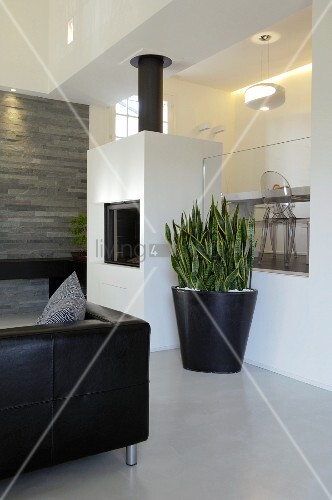 Black planter on floor next to fireplace, illuminated platform with glass balustrade and partially visible black leather couch in foreground