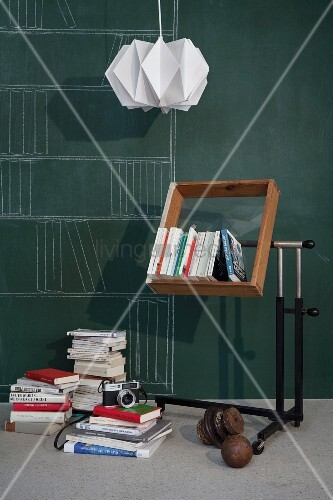 Upcycling - bookshelf made from old wooden drawer with glass insert n metal frame