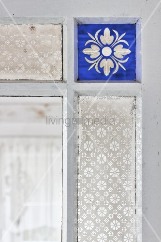 Vintage Interior Door With Blue Stained And Patterned Glass