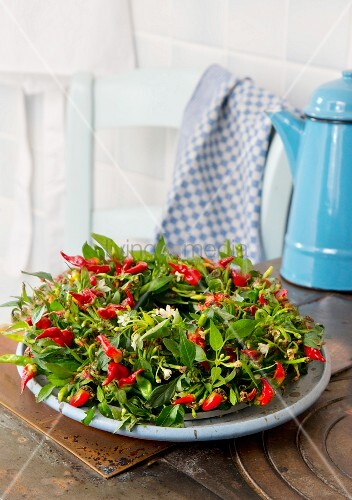 Wreath of red chilli peppers on dish on vintage kitchen table