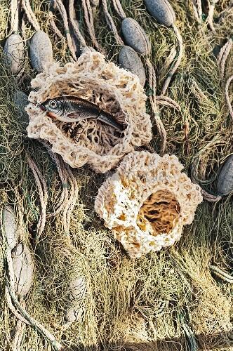 Maritime ornamental crocheted fishing nets