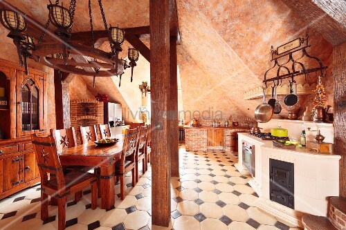 Rustic Medieval Style Kitchen With Vaulted Ceiling Solid Wooden Dining Set Tiled Floor Dark Accent Tiles