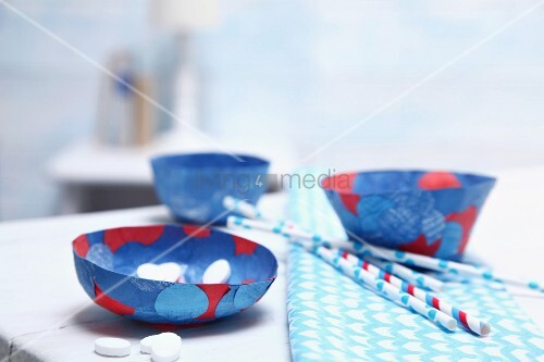 Hand-made paper bowls decorated with confetti