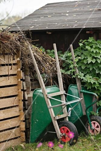 Two wheelbarrows outside garden shed